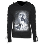White Wolf - Laceup Full Zip Glitter Hoody Black