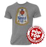 NATURAL LIGHT Men's Gray Vintage Logo Pop Top T-Shirt