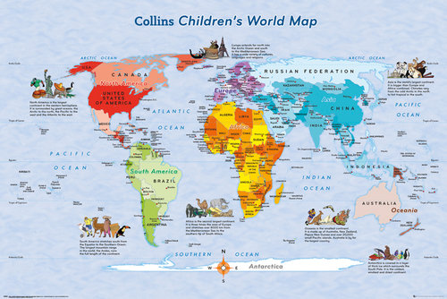 World map childrens map maxi poster for only c 735 at world map childrens map maxi poster gumiabroncs Images
