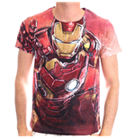 MARVEL COMICS Men's Iron Man Blasting Sublimation Print T-Shirt, Medium, Red