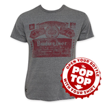 BUDWEISER Men's Gray Faded Red Label Pop Top T-Shirt
