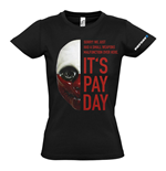 PAYDAY 2 Women's Wolf Mask Small T-Shirt, Black
