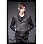 Leather Look Jacket with two Front Zippe