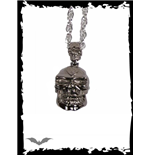 Dark chrome necklace with 2 skulls