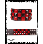 Bracelet with black & red pyramid studs