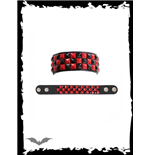 3 Rows Black/Red Pyramid Studs Checkerbo