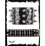 Black bracelet with 2 rows studs & skull