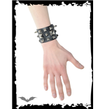 Wide Black Bracelet with Studs