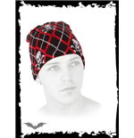 Black & red plaid beanie with skulls