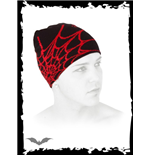 Black beanie with red spider web