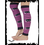 Striped legwarmers with cat skull