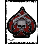 Large patch - Red spade with white skull