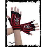 Black/red striped fingerless gloves