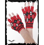 Red/black plaid fingerless gloves