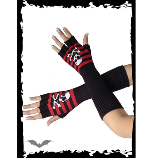 Long black/red gloves with skull