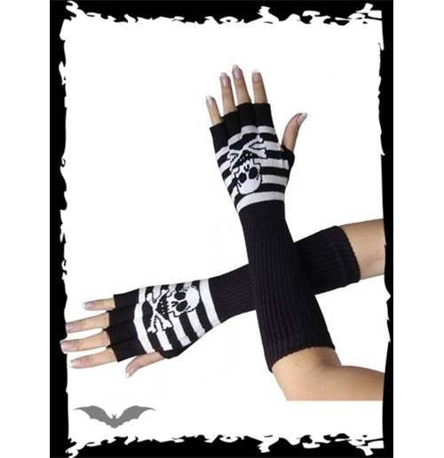 Long striped gloves with skull n X-bones