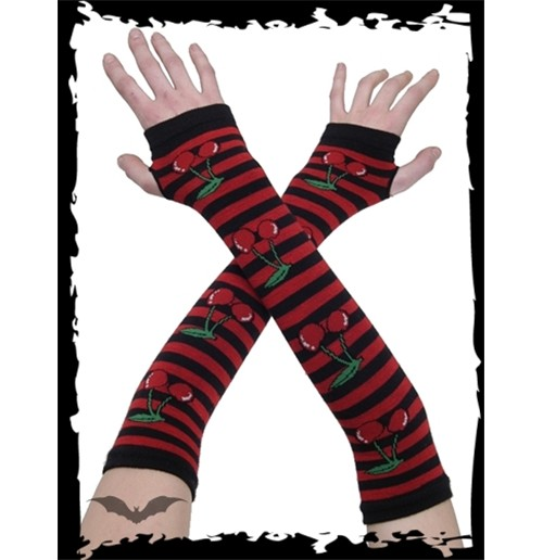 Black/red arm warmers with cherries