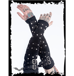Black arm warmers with buckles and studs