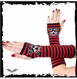 Arm warmers. Black/red striped. Girly sk