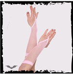 Pink net gloves. Loop for finger. Long