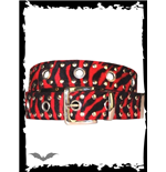 Red zebra fur belt with metal studs