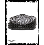 Studded black belt with tribal buckle