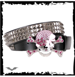Pink glitter stones on metal skull. Belt