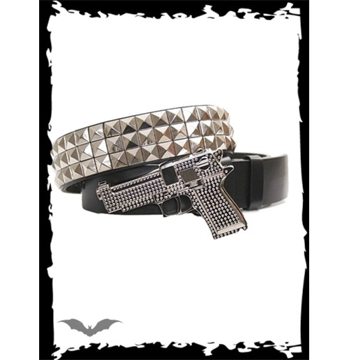 Rhinestone gun buckle with 3 rows studs