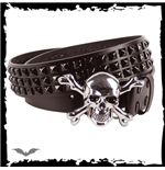 Chrome skull & X-bones buckle. 3 rows py