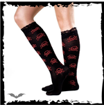 Sheer black socks with red skulls