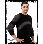 Black Knitted Sweater with Grey Print