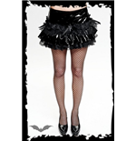 Shiny black skirt with frilly lace