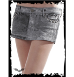 Grey Jeans Mini Skirt with Rivets