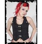 Vest with 2 rows of metal skull buttons
