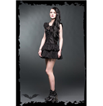 Quilling minidress with net inserts and
