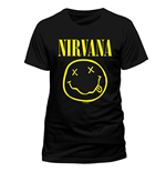 NIRVANA Smiley T-Shirt, Unisex, Large, Black