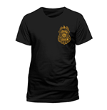 DC COMICS Batman Arkham Knight Gotham City Police Department Badge T-Shirt, Unisex, Large, Black