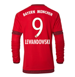 2015-16 Bayern Munich Long Sleeve Home Shirt (Lewandowski 9)