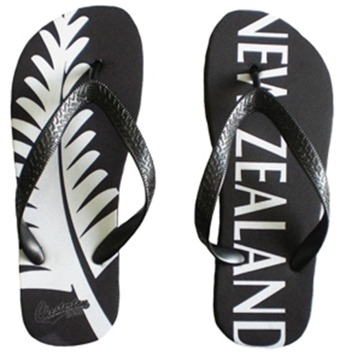 New Zealand All Blacks Fern Flip Flops