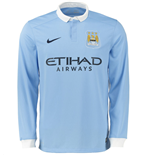 2015-2016 Man City Home Nike Long Sleeve Shirt