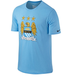 2015-2016 Man City Nike Core Crest Tee (Blue)