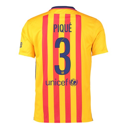 2015-16 Barcelona Away Shirt (Pique 3) - Kids