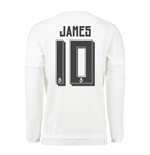 2015-16 Real Madrid Long Sleeve Home Shirt (James 10) - Kids