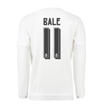 2015-16 Real Madrid Long Sleeve Home Shirt (Bale 11) - Kids