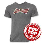 BUDWEISER Men's Gray Bow Tie Logo Pop Top T-Shirt
