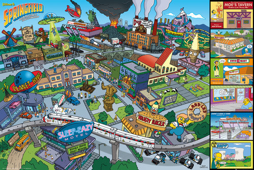 The Simpsons Locations Maxi Poster
