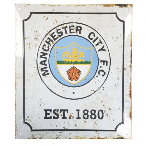 Manchester City F.C. Retro Logo Sign