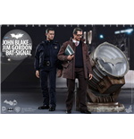 Dark Knight Rises Movie Masterpiece Action Figures 1/6 John Blake & Jim Gordon with Bat-Signal 30 cm