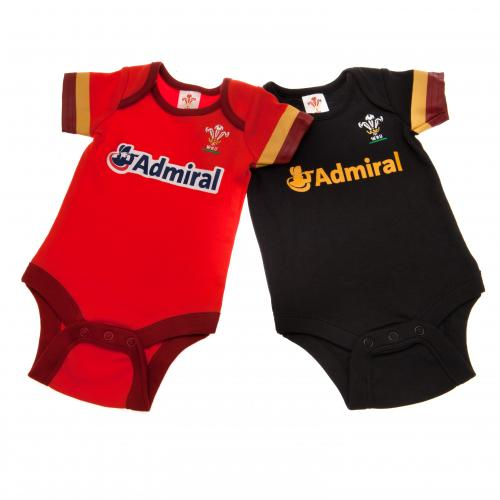 Wales R.U. 2 Pack Bodysuit 0/3 mths GD