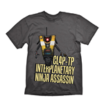 BORDERLANDS Men's CL4P-TP Interplanetary Ninja Assassin T-Shirt, Small, Dark Grey